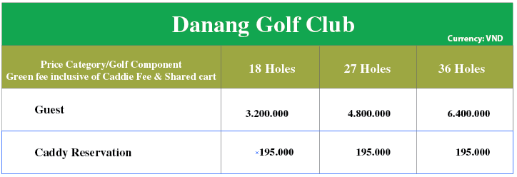 price of brg course golf