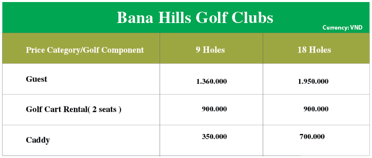price of bana hill golf